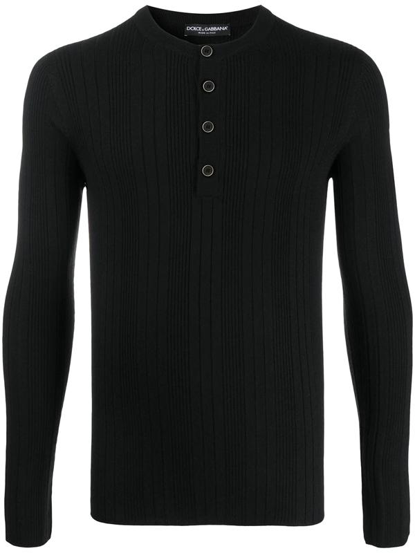 Dolce & Gabbana Ribbed Grandad Neck Shirt In Virgin Wool In Black