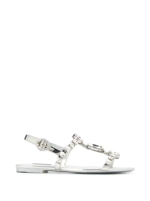 Dolce & Gabbana Mirrored Calfskin Sandals With Embroidery In Silver