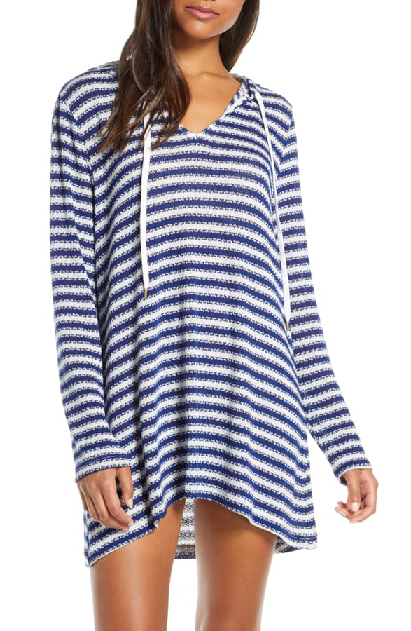 La Blanca Slouchy Hooded Sweater Cover-up Tunic In Midnight
