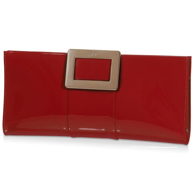 Roger Vivier Belle Vivier Patent Leather Clutch, Red