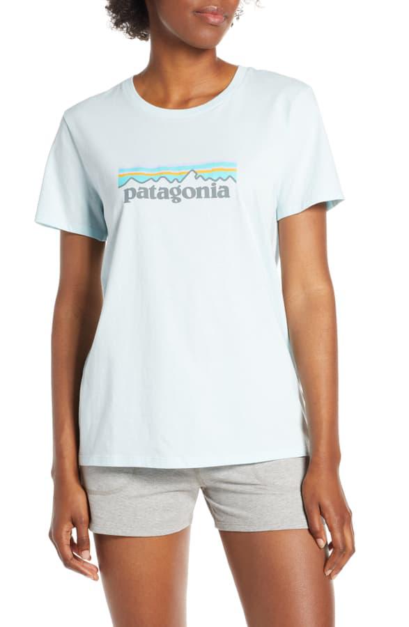 Patagonia P-6 Logo Tee In Atoll Blue