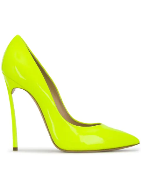 Casadei Pointy Pump With Blade Heel In Yellow