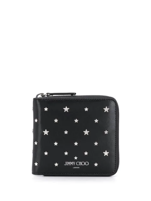 Jimmy Choo Scott Star Studded Leather Wallet In Black