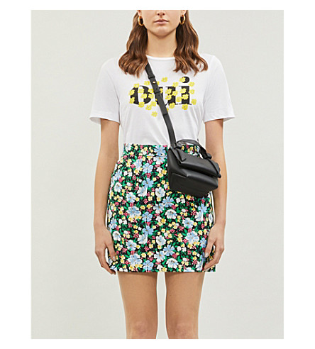 Maje Jikael Floral-Print Crepe Mini Skirt In Printed