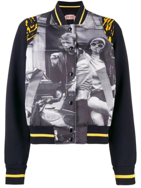 N°21 Printed Bomber Jacket In Black