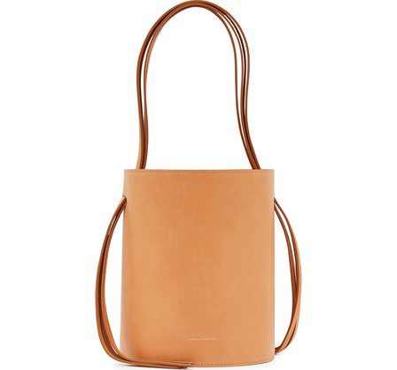 Mansur Gavriel Vegetable-Tanned Leather Fringed Bucket Bag In Camello/Rosa