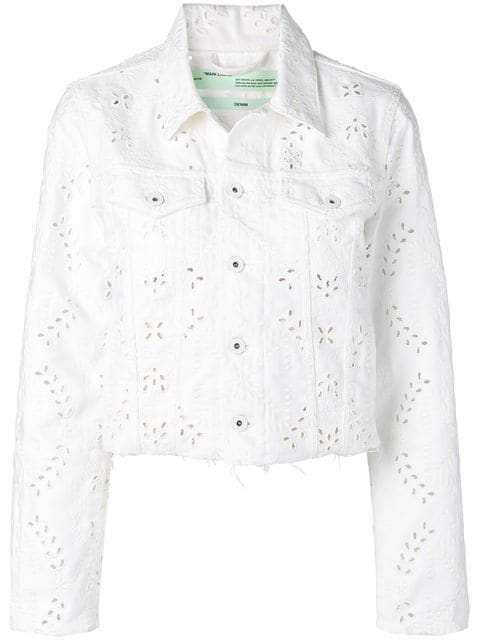 Off-White Embroidered Denim Jacket In White