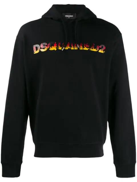 Dsquared2 Logo Printed Jersey Sweatshirt Hoodie In 900 Black