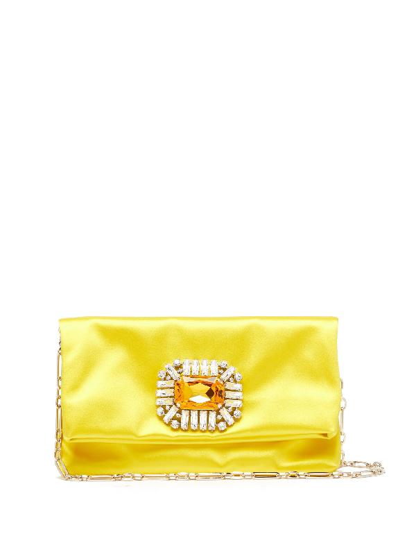 Jimmy Choo Titania Crystal-embellished Satin Clutch In Yellow