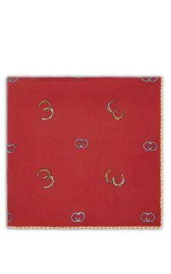 845498c062 Horseshoe-Print Silk Twill Pocket Square - Wine