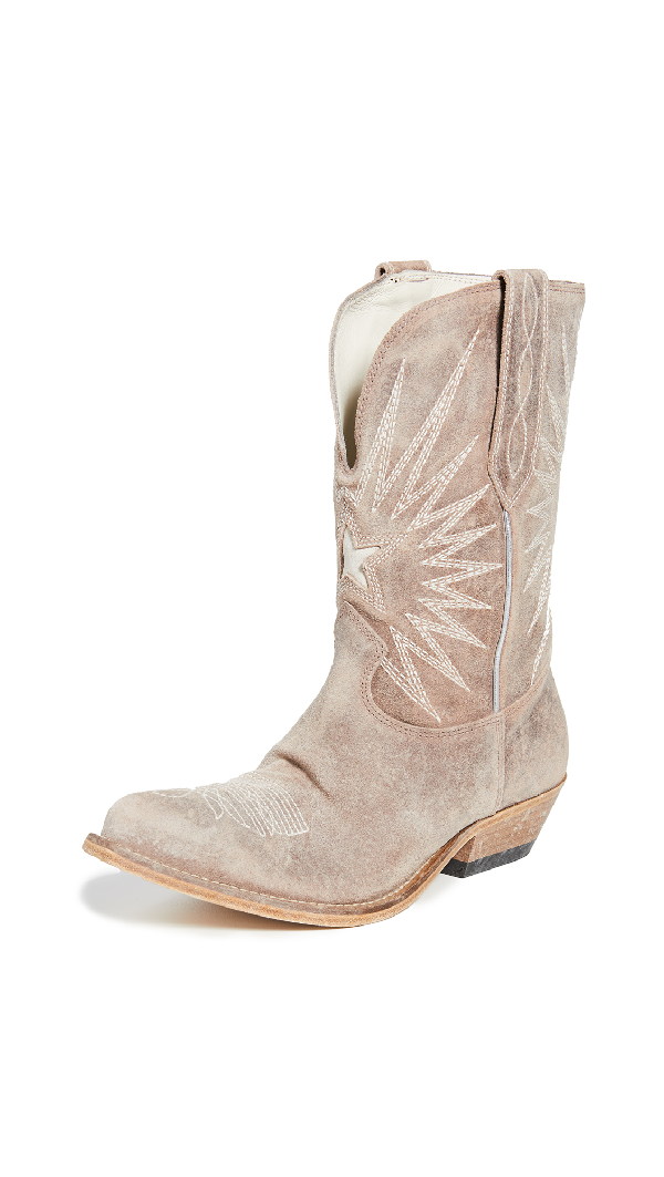 Golden Goose Wish Star Contrast-Stitch Suede Boots In Wood