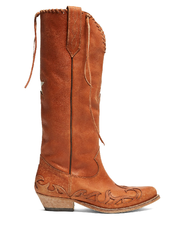 Golden Goose Wish Star Embroidered Leather Boots In Tan
