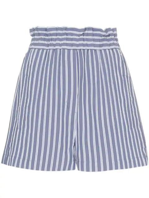 Tibi High Waist Stripe Twill Shorts In Blue