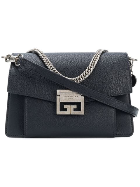 Givenchy Gv3 Small Textured-Leather Shoulder Bag In Black