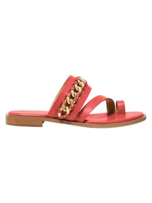 Michael Michael Kors Bergen Curb Chain Slide Sandal In Coral Vachetta Leather