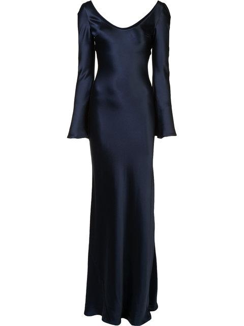 Galvan Long Sleeved Slip Dress In Blue. In Midnight