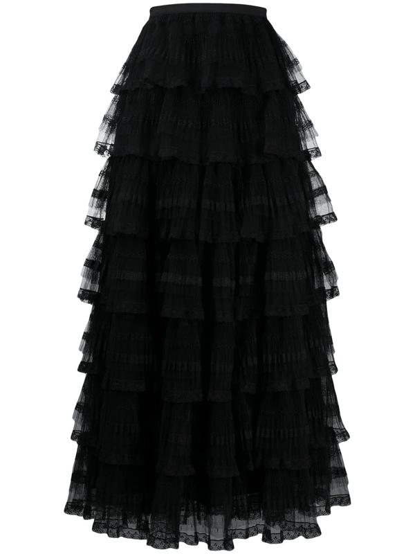 Red Valentino Tulle Long Skirt In Black