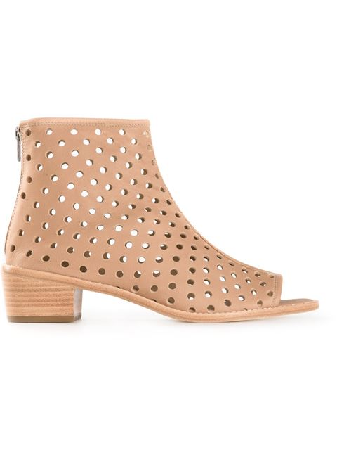 Loeffler Randall Ione Perforated Open Toe Booties In Beach