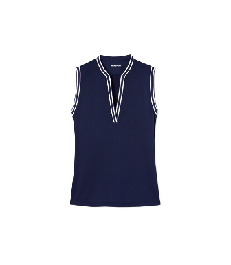 Tory Sport Sleeveless Tunic Top In Tory Navy/snow White
