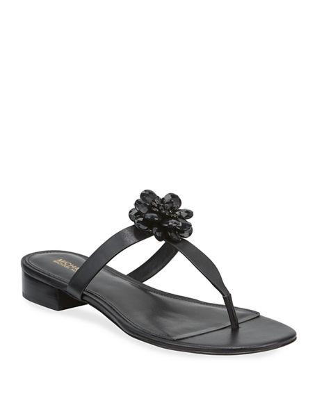 Michael Michael Kors Dalia Leather T-strap Flower Sandals In Black