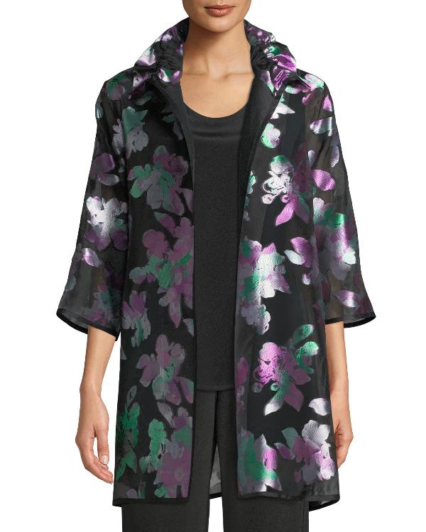 Caroline Rose Passion Flower Organza Topper Jacket, Petite In Multi/black