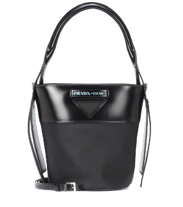 Prada Leather-Trimmed Nylon Bucket Bag In Black