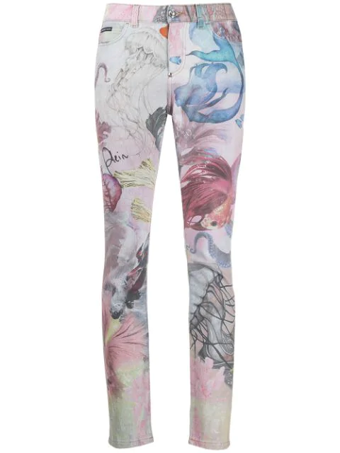 Philipp Plein Underwater Slim-fit Jeans In Pink