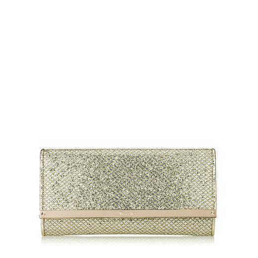 Jimmy Choo Maia Champagne Glitter Fabric Accessory Clutch Bag