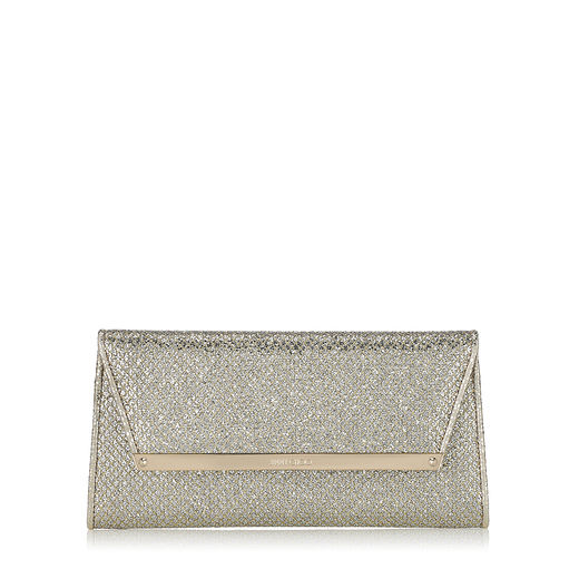 Jimmy Choo Margot Silver Glitter Fabric Accessory Clutch Bag In Neutral