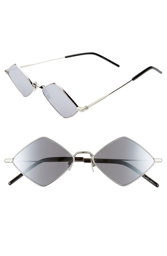 Saint Laurent 55Mm Diamond Shaped Sunglasses - Silver/ Silver