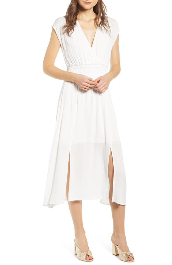42881a59aeea0b Wayf Leanne Double Slit Smocked Midi Dress In Ivory | ModeSens
