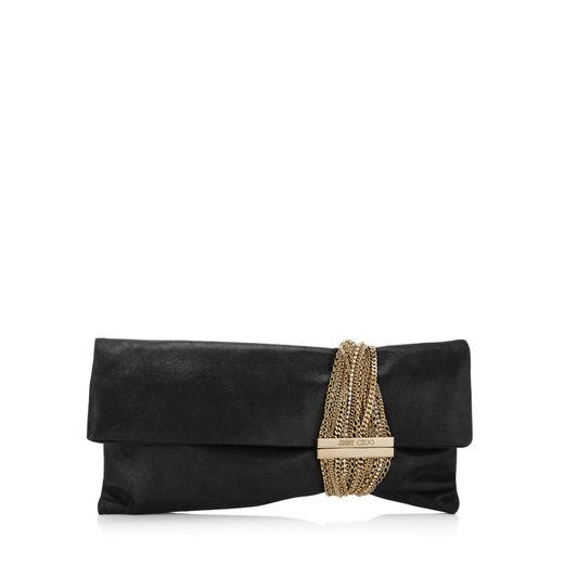Jimmy Choo Chandra Black Shimmer Suede Clutch Bag
