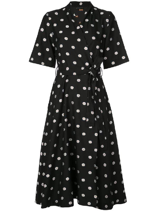 Stine Goya Kylie Floral-print Jacquard Wrap Dress In Daisy