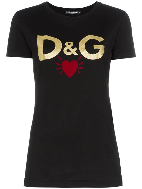 Dolce & Gabbana Dolce And Gabbana Black Dg Heart T-Shirt In N0000