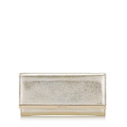 Jimmy Choo Milla Champagne Glitter Leather Accessory Clutch Bag
