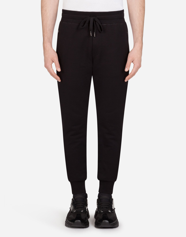 Dolce & Gabbana Jersey Jogging Pants With Branded Plate In Black