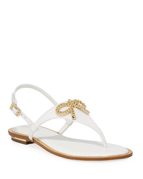 Michael Michael Kors Posey Flat Metallic Bow Sandals In White