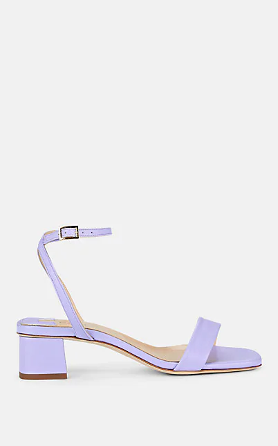 Barneys New York Block-Heel Leather Sandals In Lilac