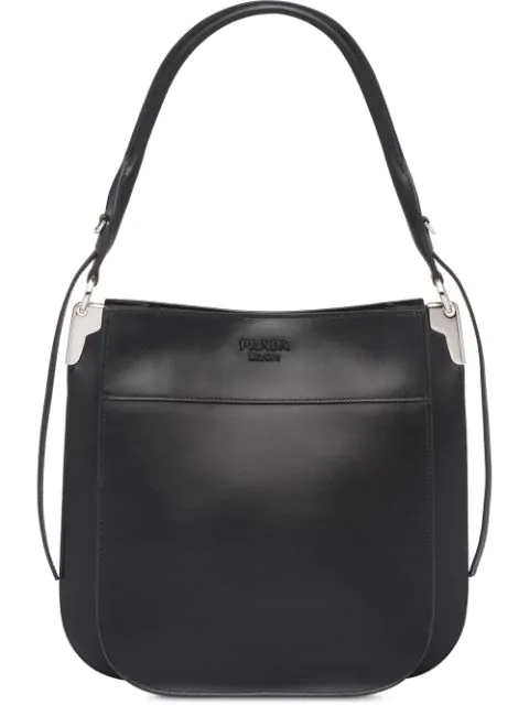 Prada Margit Leather Shoulder Bag Nero In Black