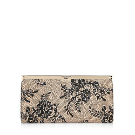 Jimmy Choo Camille Black Lace On Glitter Clutch Bag