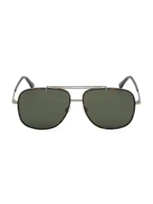 Tom Ford Men's Vintage-Luxe Brow Bar Aviator Sunglasses, 58Mm In Silver