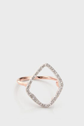 Monica Vinader Riva Hoop 18K Rose Gold Cocktail Diamond Ring, Ukp In Neutral