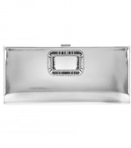 Roger Vivier Pilgrim Small Embellished Metallic Leather Clutch In Silver