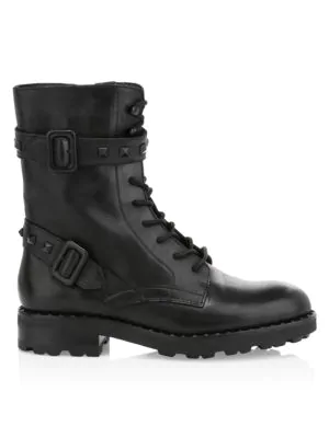 Ash Witch Combat Boots In Black Leather