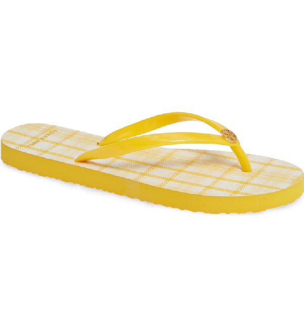 Tory Burch Women's Printed Thin Flip-Flops In Sunlight/ Yellow