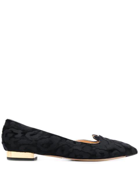 Charlotte Olympia Kitty Leopard-Jacquard Devore D'Orsay Flats In Black