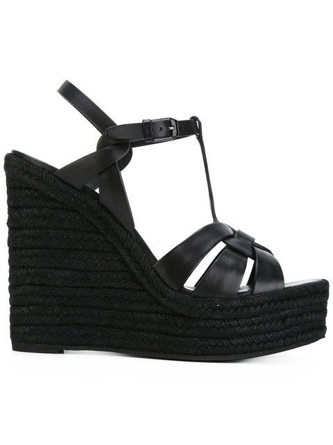Saint Laurent Tribute Leather Platform Espadrille Sandal In Black ,black