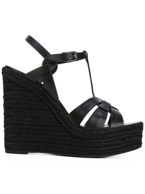 Saint Laurent Tribute Woven Leather Espadrille Wedge Sandals In Black