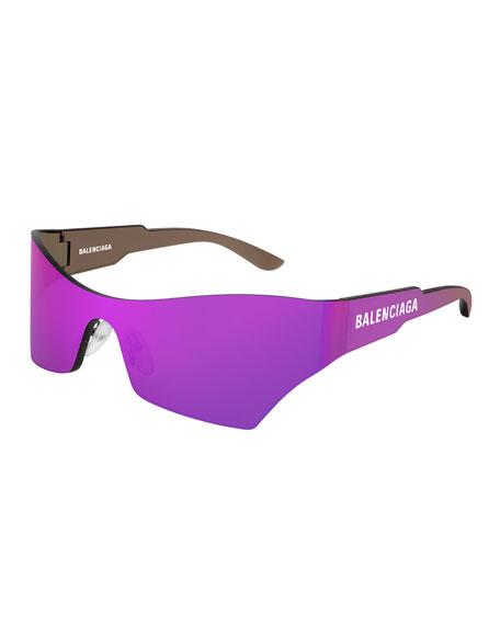 Balenciaga Men's Injection Rectangle Shield Sunglasses In Pink/Purple