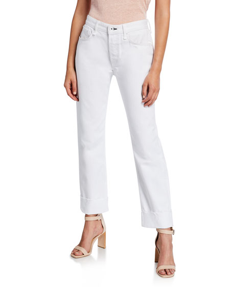 Rag & Bone Rosa High Waist Raw Hem Boyfriend Jeans In White